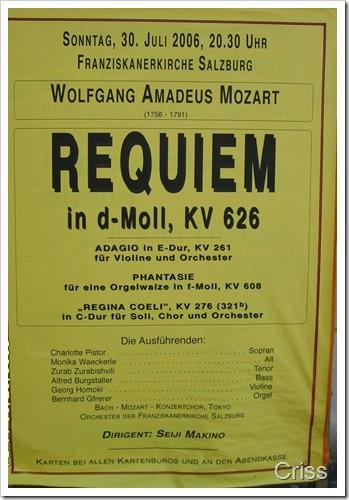 Afis de Requiem la împlinirea a 250 de ani de la nașterea lui Mozart - Salzburg